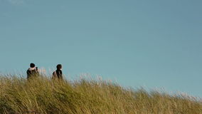 Two young men are standing in tall grass, one of them taking pictures on his phone stock video