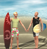 Two young men with surf board. stock photography