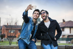 Two young men taking selfie Stock Image