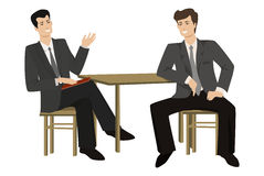 Two young men-talking businessman at the table. Vector illustrasion on a flat style Stock Photos