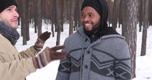 Two men talking in snow. Two young men talking and having fun in snow during winter holidays stock video footage
