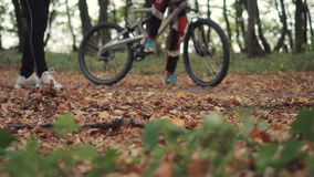 Two young men test the bike stock video