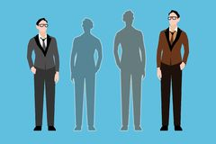 Two young men and two shadows. Vector illustration vector illustration