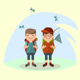 Two young Men tourist with a backpack goes on a hike against the background of nature. Vector in the style of th. Two young Men tourist with a backpack goes on a Stock Photography