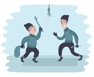 Two young men Two guys are stealing. Thives. Vector. Royalty Free Stock Photo