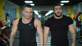 Two young men walking at the gym. Two young men with muscular arms and well-shaped bodies go at the gym. They talk to each other. In the background are placed stock footage