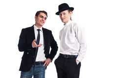Two young men on a white background Stock Photography