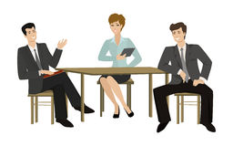 Two young men and woman-talking businessman at the table stock illustration