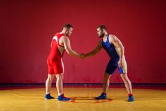 Two young men wrestlers. Two greco-roman wrestlers in red and blue uniform shake hands before each other on a yellow wrestling carpet in the gym royalty free stock photos