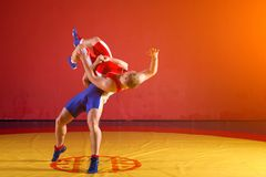 Two young men  wrestlers. Two strong wrestlers in blue and red wrestling tights are wrestlng and making a  making a hip throw  on a yellow wrestling carpet in Royalty Free Stock Photography