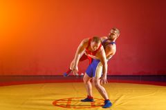 Two young men  wrestlers. Two strong wrestlers in blue and red wrestling tights are wrestlng and making a  making a hip throw  on a yellow wrestling carpet in Stock Image