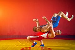 Two young men wrestling. Two strong wrestlers in blue and red wrestling tights are wrestlng and making a suplex wrestling on a yellow wrestling carpet in the gym Royalty Free Stock Images