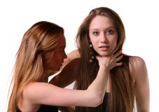 Two young models fights. Royalty Free Stock Photo