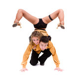 Two young modern acrobats posing Royalty Free Stock Images