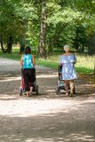 Rear view of two young mothers pushing strollers in park stock photo