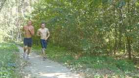 Two young muscular athletes running at the forest path. Active strong men training outdoors. Fit handsome athletic male Stock Image