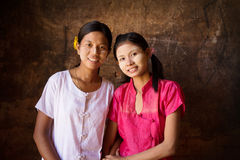 Two young Myanmar female smiling Stock Photo