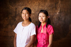 Two young Myanmar girls portrait Stock Image