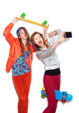 Two young naughty girls having fun. Lifestyle Stock Photography