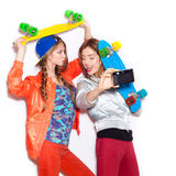Two young naughty girls having fun. Lifestyle Royalty Free Stock Image