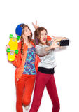Two young naughty girls having fun. Lifestyle Royalty Free Stock Photography