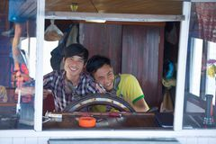 Two young navigators Royalty Free Stock Photos