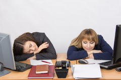 Two young office worker sleeping on desk for computers Royalty Free Stock Photos