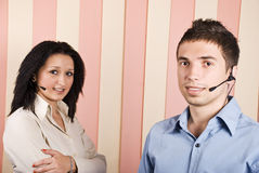 Two young operators team Royalty Free Stock Photo