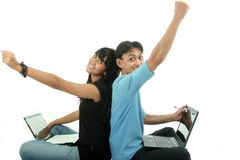 Two young people accomplish. Two Asian student using laptop stock images