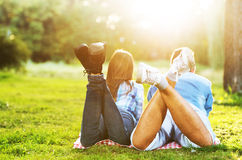 Two young people enjoying outside Royalty Free Stock Photos