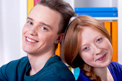 Two young people smiling Royalty Free Stock Image