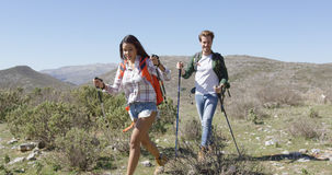 Two young people trekking Royalty Free Stock Photography