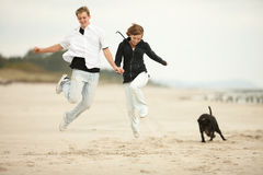 Free Two Young Poeple Jumping On The Beach  And Holding Royalty Free Stock Photography - 13063477