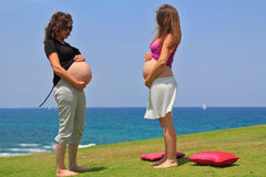 Two young pregnant woman posing by the sea. Royalty Free Stock Images