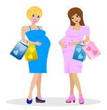 Two young pregnant woman with purchase Royalty Free Stock Image
