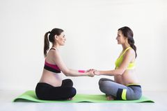 Two young pregnant women doing fitness exercises Royalty Free Stock Image