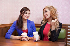 Two young pretty caucasian girls Stock Photo