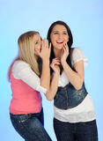 Two Young Pretty Girls Gossiping Royalty Free Stock Photos