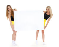 Young  women with empty board for the text. Stock Photography