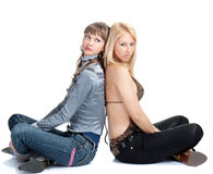 Two young pretty Women posing Stock Photos