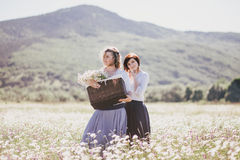 Two young pretty women posing in a chamomile field Stock Photo