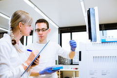 Two young researchers carrying out experiments in a lab Stock Photography