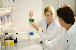 Two young researchers at work Stock Photography