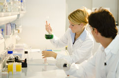 Two young researchers at work Royalty Free Stock Photo