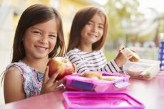 Two young schoolgirls at lunch looking to camera royalty free stock image