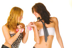 Two young sexy girls Stock Photos