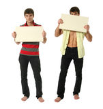 Two Young Sexy Men with Copy Space Blank SignY Royalty Free Stock Images