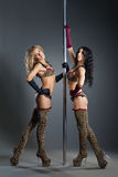 Two young sexy women exercise pole dance Royalty Free Stock Photos