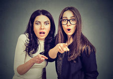 Two young shocked women are scared about something pointing fingers at camera. Two young stunned women are scared about something pointing fingers at camera royalty free stock images
