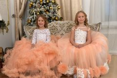 Two young sisters in white with peach dresses royalty free stock photography